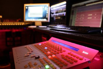 Sound mixing board at Sound Guru Studios